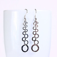 Holiday sale - Silver plated grape drop dangle earrings (554)