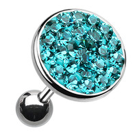 Sparkling Multi-Glass-Gem Round Cartilage Tragus Earring