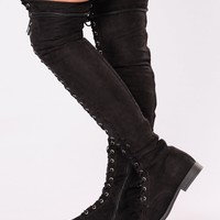 Demetria Lace Up Flat Boot - Black