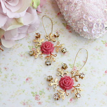 Autumn Wind Earrings. Art Deco Flower and Rhinestones. Blush. Romance. Fall. Fashion.  Bridesmaids Earrings. Wedding. Statement Earrings.