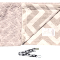 "Baby Laundry 92224 Soft Minky Gray Chevron Cuddle 14""x18"" Baby Blankey with Pacifier Clip"