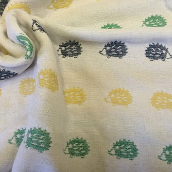 Hedgehogs blanket, multicolor soft blanket, baby blanket, gauze blanket, muslin blanket, stroller blanket for baby boy