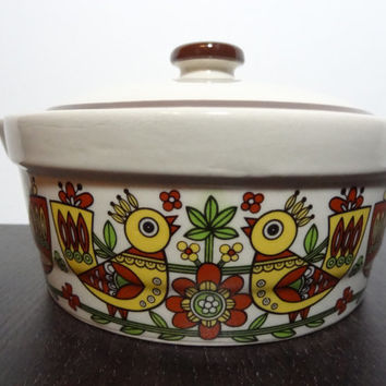 Vintage Stoneware Small Casserole Dish with Lid With Danish Style Chickens and Floral Design Around Sides - Orange, Yellow, Green and Brown