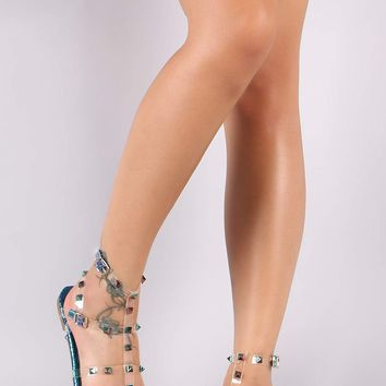 Liliana Holographic Snake Clear Studded Cage Flat Sandal