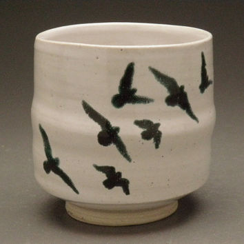 Ceramic Cup with Flock of Birds Original Majolica by AdrienArt