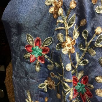 Vintage styled sheer denim blue flower embroidered wrap Shawl