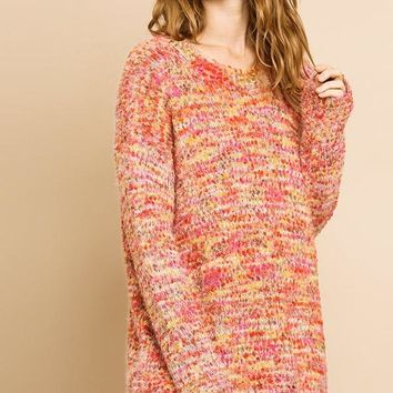 Multicolor Boucle Long Sleeve Pullover Sweater
