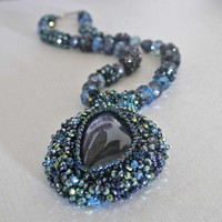 Beaded Labradorite Pendant, Pearl, Crystal Necklace, Black, Blue Green