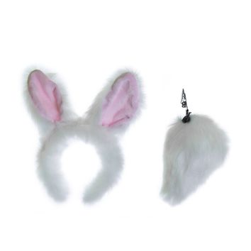 Plush White Rabbit Ears Headband and Tail Set for Bunny Costume, Cosplay or Forest Animal Costumes