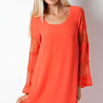 Exquisite Lace and Chiffon Tunic Dress - Orange