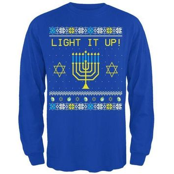 PEAPGQ9 Hanukkah Light It Up Ugly Christmas Sweater Mens Long Sleeve T Shirt