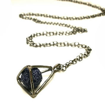 Caged Azurite Nodule- Geometric Cage Necklace in Oxidized Sterling Silver- Blueberry Tetrahedron
