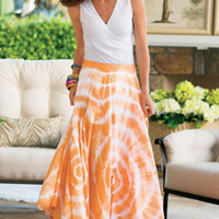 Sunset Skirt I - Tie Dyed Skirt, Long Cotton Skirt, Tropical Skirt | Soft Surroundings