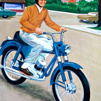 Teaching Pictures Motorcycle Bike Transportation Moped Poster Childrens School Art