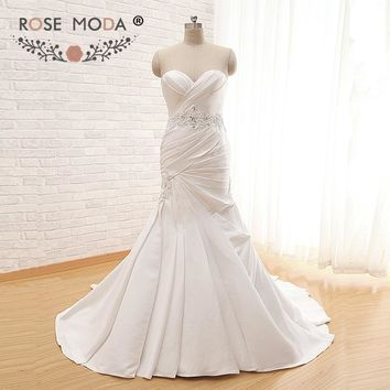 Rose Moda Fit and Flare Satin Trumpet Wedding Dress with Lace Up Back Deep Sweetheart Delicate Beaded Sash Bridal Gown