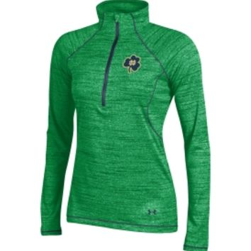 Under Armour Women's Notre Dame Fighting Irish Green Space Tech Performance Quarter-Zip Long Sleeve Shirt