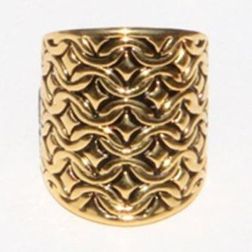 Exclusive Eye Catching Gold Tone Wide Fashion Wrap Ring with Quilted Texture and Black Antique Accent