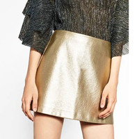 Metallic Colors High Waist A-Line Pu Skirt