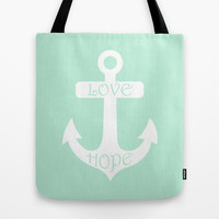 Love Hope Anchor Mint Green Tote Bag by Beautiful Homes