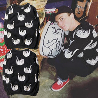Men's Fashion Middle Finger Cat Cotton Hoodies [8598656323]