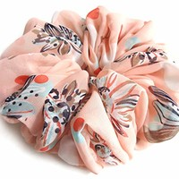 Salmon Pink Large Chiffon Scrunchie Designer Accessories For Long Hair