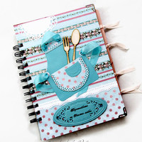 Handmade Personalized Recipe Book, Recipe Organizer, 100 lined sheets, Shabby Chic