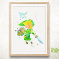 Toon Link, Zelda - Watercolor, Art Print, Home Wall decor, Watercolor Print, Super Smash Bros Poster