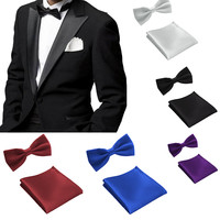 Fashion 35 Style Gravata Bow Tie Hanky Bowties for Mens Business Wedding Party Men Pocket Squares Handkerchief  TZLJd