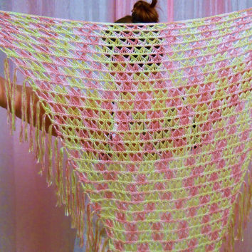 Sunshine and Roses - Broomstick Lace Crochet Triangle Shawl - Luxurious 100% Silk Yarn