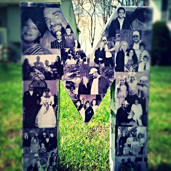 Wedding Engagement Bridal shower Decor Photo Letter Custom Picture Monogram Collage Personalize Birthday Annivesary 360' of photos letter M