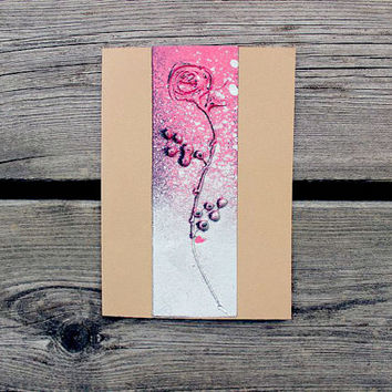 Greeting card A6 4x6 - Pink and silver rose on beige background