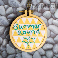 Large Embroidery Hoop Necklace - OOAK Necklace - Summer Necklace - Summer Jewelry - Yellow and Teal - Embroidered Jewelry - Sun Necklace