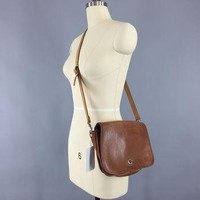Vintage 1970s Coach Bag / Brown Leather Cross Body Purse
