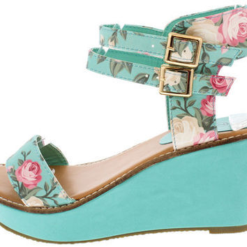 VICKY2 MINT FLORAL OPEN TOE ANKLE STRAP WEDGE