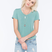 Full Tilt Womens V-Neck Tee Sage  In Sizes