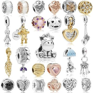 LJP NEW 925 Sterling Silver Bruno the Unicorn Cute Animal Charms White Snow Princess fit Original Pandora Bracelet Beads Jewelry