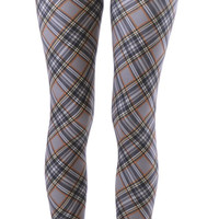 Plum Colored Plus Size Plaid Ankle Leggings