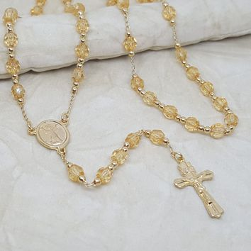 1-3338-h2 Gold Overlay Colored Beads Rosary Necklace. (3 colors available)