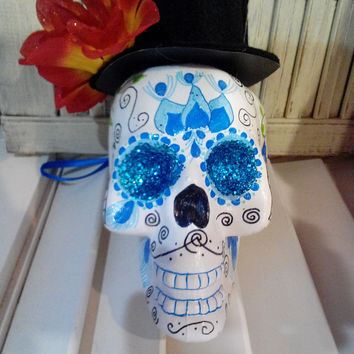 Sugar Skulls: Blue Feather Man Handpainted Wall/Mantel Decorations
