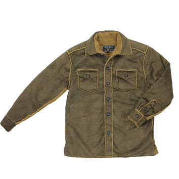 Pebble Sueded Button Jacket in Vintage Brown by True Grit