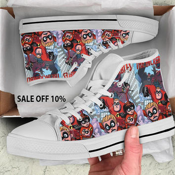 Incredibles shoes, Incredibles High Tops, Incredibles Sneakers, Superhero, Black High Tops, Converse unisex, men's, women's, Jack-Jack