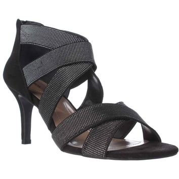 SC35 Seleste Elastic Strap Dress Sandals, Black/Silver, 7.5 US