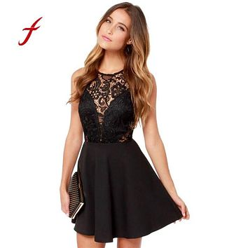 FEITONG Women's dress 2018 Summer Casual Backless Prom Cocktail Lace Short Mini Dress Sexy Sleeveless Party Ball Gown Dresses 27