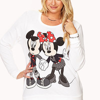 FOREVER 21 PLUS Edgy Mickey & Minnie Mouse Sweatshirt White/Black X-Large