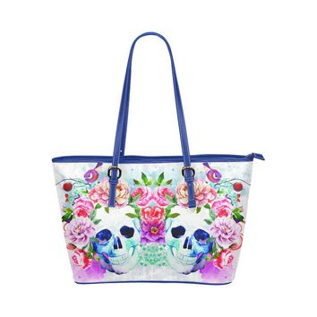 Hip Water Resistant Small Leather Tote Bags Sugar Skull #4 (5 Colors)