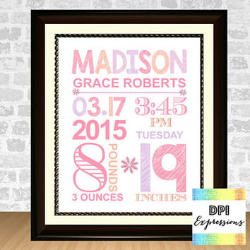 Custom Baby Birth Print, Printable Baby Girl Birth Announcement, Nursery Birth Art Print, Baby Birth Stats Art Print, Digital File