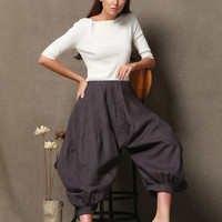 Brown Women's Harem Pants - Sarouel Wide Legged Boho Casual Comfortable Everyday Slouchy Indie Trousers  C623