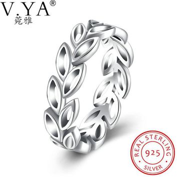 V.Ya Real 925 Sterling Silver Jewelry Authentic Laurel Wreath Laurel Leaves CZ Finger Rings for Women Anniversary Wedding Rings