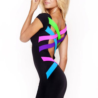 Rainbow Strappy Cutout Short Sleeve Mini Bodycon Dress