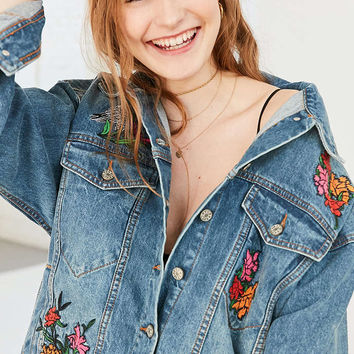 BDG Embroidered Floral Relaxed Denim Jacket - Urban Outfitters